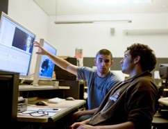 Princeton students collaborate on coursework.