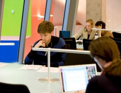 Students studying in Lewis Library.