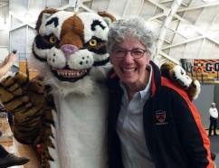 Dean of the College Jill Dolan with the Princeton Tiger. Photo by the Office of Communications.