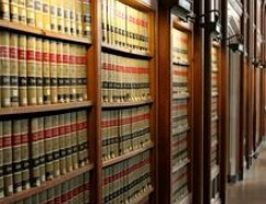 Shelves of law books.