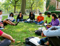 A Hindi class meeting on the green beside Nassau Hall