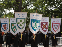 The banners of the six residential colleges. Photo by the Office of Communications.