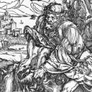 Albrecht Durer.  Samson slaying the lion, c.1496-98 (woodcut print). detail