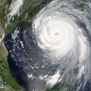 NASA photo of Hurricane Katrina making landfall