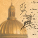 Photo of dome with pencil sketch and writing superimposed
