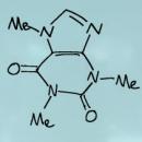 Hand drawn representation of the caffeine molecule