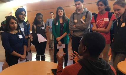 Undergrads and grad students connect at a ReMatch Meet and Greet event.